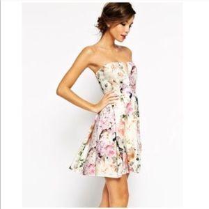 ASOS Floral Deep V Strapless Dress